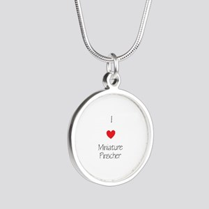 I love Miniature Pinchers Silver Round Necklace