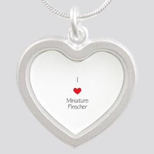 I love Miniature Pinchers Silver Heart Necklace