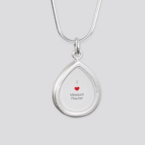 I love Miniature Pincher Silver Teardrop Necklace