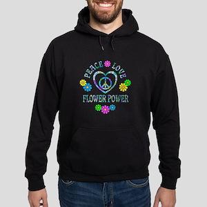 Peace Love Flower Power Hoodie (dark)