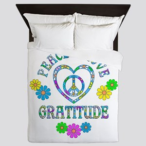 Peace Love Gratitude Queen Duvet