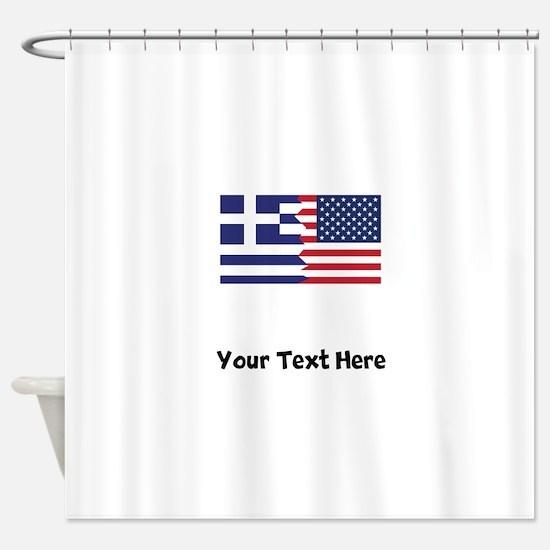 Greek American Flag Shower Curtain
