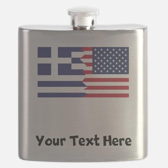 Greek American Flag Flask