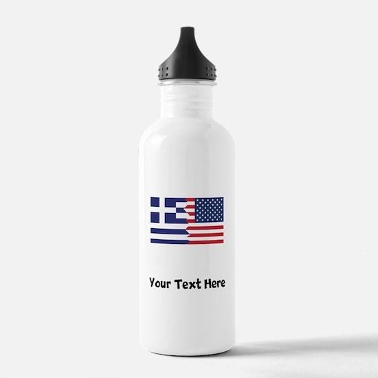 Greek American Flag Water Bottle