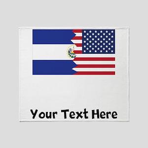 El Salvadorian American Flag Throw Blanket