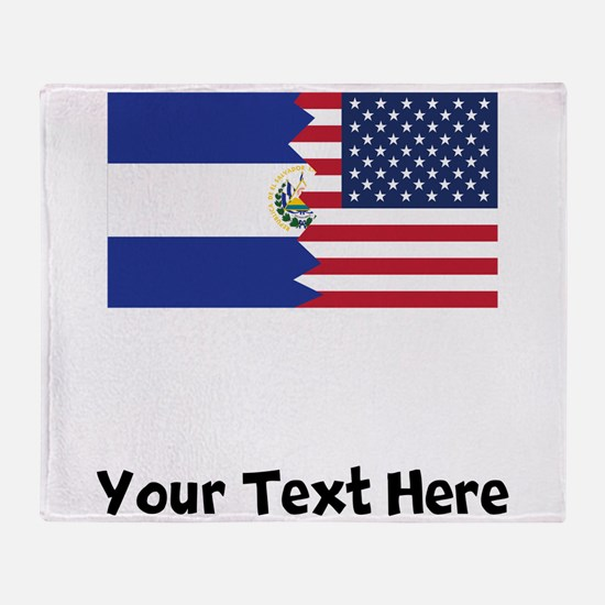 El Salvadorian American Flag Throw Blanket