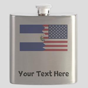 El Salvadorian American Flag Flask
