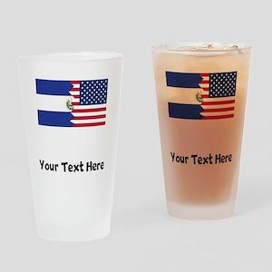 El Salvadorian American Flag Drinking Glass