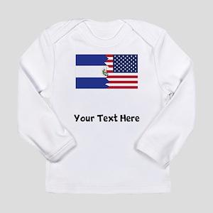 El Salvadorian American Flag Long Sleeve T-Shirt