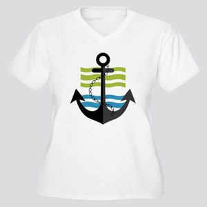 Nautical Anchor Trendy Summer De Plus Size T-Shirt
