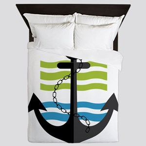 Nautical Anchor Trendy Summer Design Queen Duvet