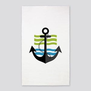 Nautical Anchor Trendy Summer Design Area Rug