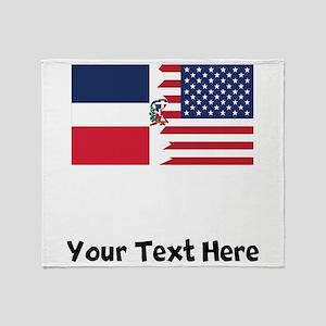 Dominican American Flag Throw Blanket