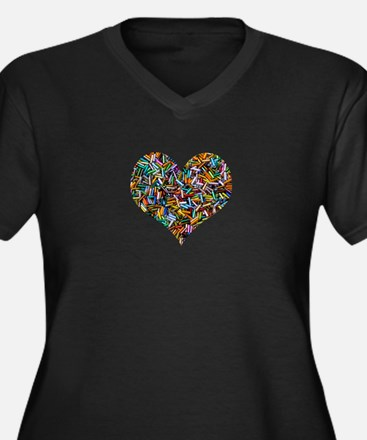 Rainbow Bugle Beads heart Plus Size T-Shirt