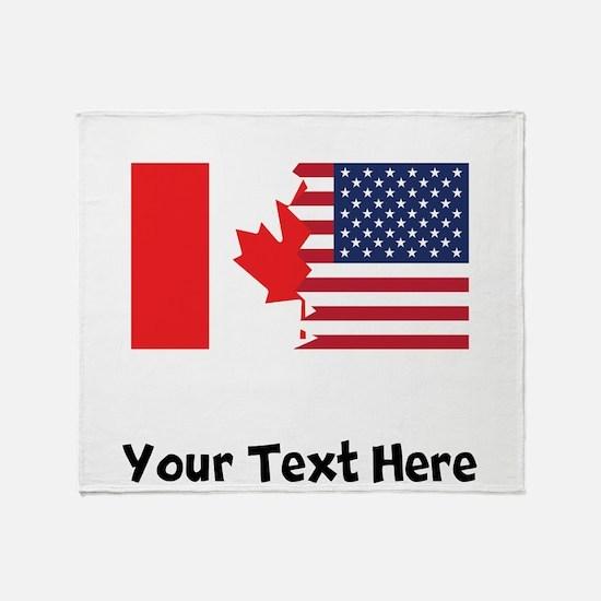 Canadian American Flag Throw Blanket