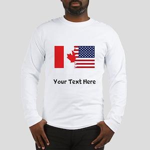 Canadian American Flag Long Sleeve T-Shirt