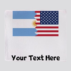 Argentinian American Flag Throw Blanket