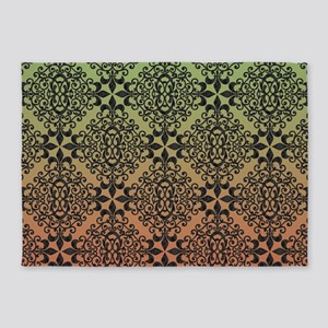 Olive And Copper Ombre Black Damask 5'x7'Area Rug