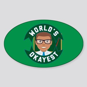 Emoji Okayest Teacher Sticker (Oval)