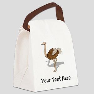 Brown Ostrich (Custom) Canvas Lunch Bag