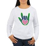 Green/Pink Heart ILY Hand Women's Long Sleeve T-Sh