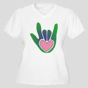 Green/Pink Heart ILY Hand Women's Plus Size V-Neck