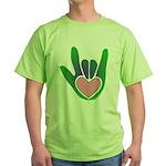 Green/Pink Heart ILY Hand Green T-Shirt