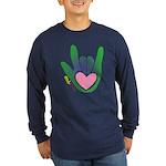 Green/Pink Heart ILY Hand Long Sleeve Dark T-Shirt
