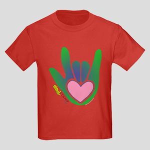Green/Pink Heart ILY Hand Kids Dark T-Shirt