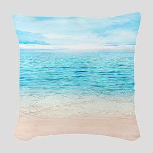 White Sand Beach Woven Throw Pillow