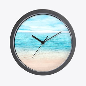 White Sand Beach Wall Clock