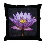 Purple Tropical Water Lily - Throw Pillow