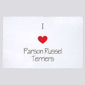 I Love Parson Russel Terriers 4' X 6' Rug