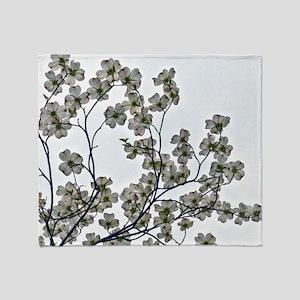 White Flowering Dogwood Throw Blanket