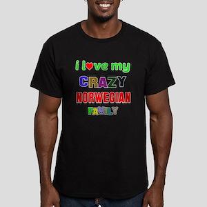 I love my crazy Norweg Men's Fitted T-Shirt (dark)