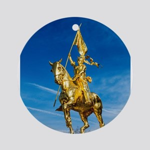 Golden lady on a golden horse back Round Ornament