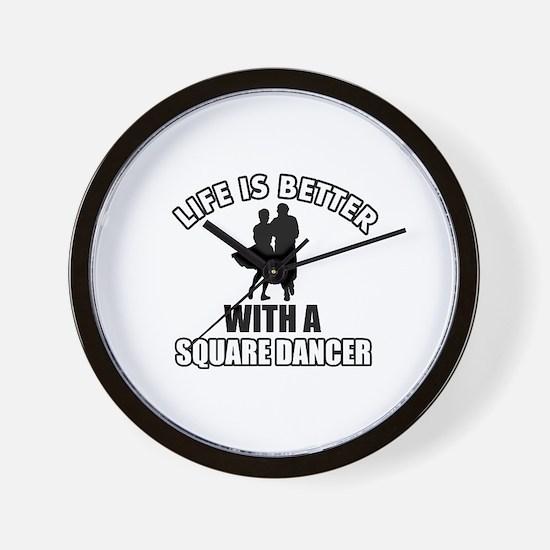 Square Dancer Designs Wall Clock