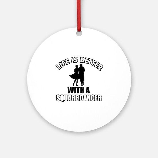 Square Dancer Designs Round Ornament