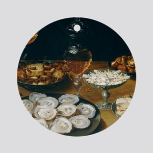 Dishes With Oysters, Osias Beert Round Ornament