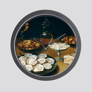 Dishes With Oysters, Osias Beert Wall Clock