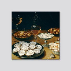 "Dishes With Oysters, Osias Square Sticker 3"" x 3"""