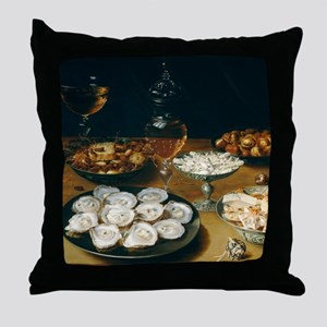 Dishes With Oysters, Osias Beert Throw Pillow