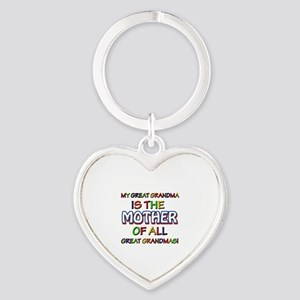 Funny Great Grand Ma family designs Heart Keychain