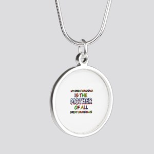 Funny Great Grand Ma family Silver Round Necklace