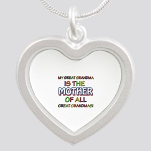 Funny Great Grand Ma family Silver Heart Necklace