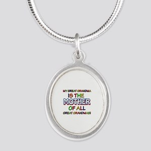 Funny Great Grand Ma family d Silver Oval Necklace