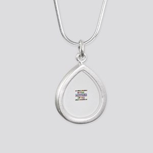 Funny Great Grand Ma fam Silver Teardrop Necklace