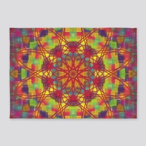 Square Flowers 1 5'x7'Area Rug
