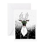 Snow Storm Reindeer Greeting Card Happy Holidays