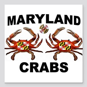 "MARYLAND CRABS Square Car Magnet 3"" x 3"""